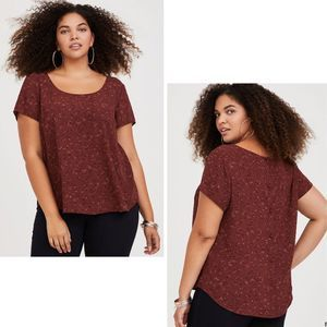 Torrid Abbey GeoPrint Georgette Button-Back Top-00
